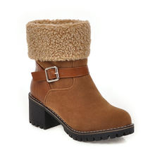 Женские зимние теплые меховые ботинки; шерстяные пинетки ботильоны