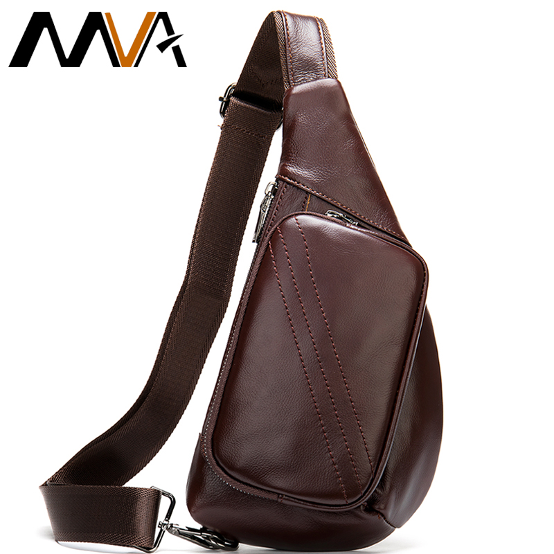 MVA 100% Genuine Leather Men's Shoulder Bag Men's Messenger Bag Small Crossbody Bags For Men Chest Pack Leather Sling Bags Men