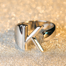 Minimalist Female A-Z Letter Metal Ring Charm Silver Gold Filled Engagement Ring Fashion Opening Wedding Rings For Women vintage adjustable a z letter metal ring female jewelry gothic charm gold ring fashion opening wedding band rings for women girl