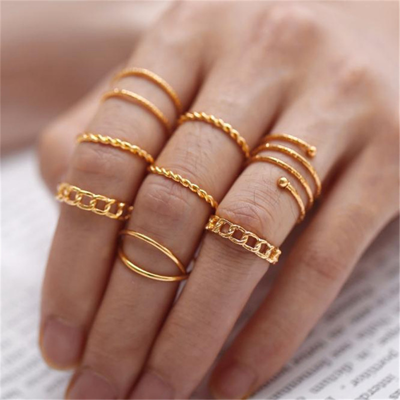 X-ROYAL 8Pcs/set Vintage Classic Multi Layers Women Fashion Rings Suit Gold Silver Female Cross Alloy Open Finger Knuckle