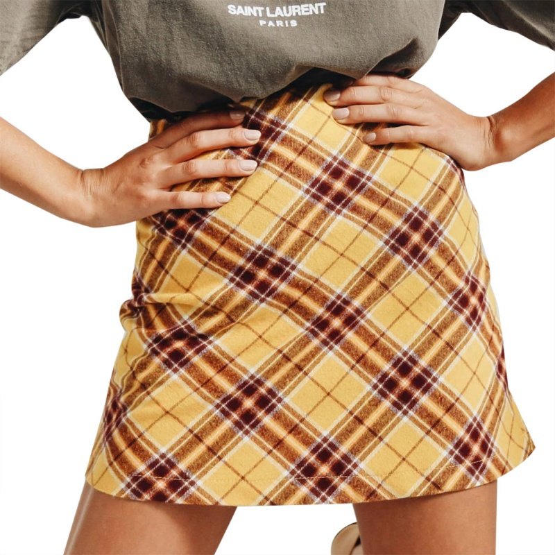 2020 Autumn Women European And American Skirts Fashion Plaid Zipper High Waist Skirt Bag Hip Skirt Green Yellow 2XL New