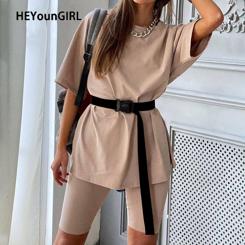 HEYounGIRL Solid Casual Loose Tracksuits Women Set Long Tshirt And Biker Shorts 2 Pieces Sets Fashion Basic Outfit Ladies Summer