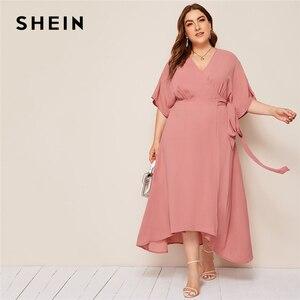 Image 1 - שיין בתוספת ורוד גודל מוצק צוואר הגלימה לעטוף חגור מקסי שמלת נשים סתיו קימונו שרוול קו גבוהה מותן אלגנטי שמלות