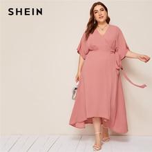 SHEIN プラスピンクサイズ固体冥衣ネックラップ付きマキシドレス女性秋着物スリーブ A ラインハイウエストでエレガントなドレス