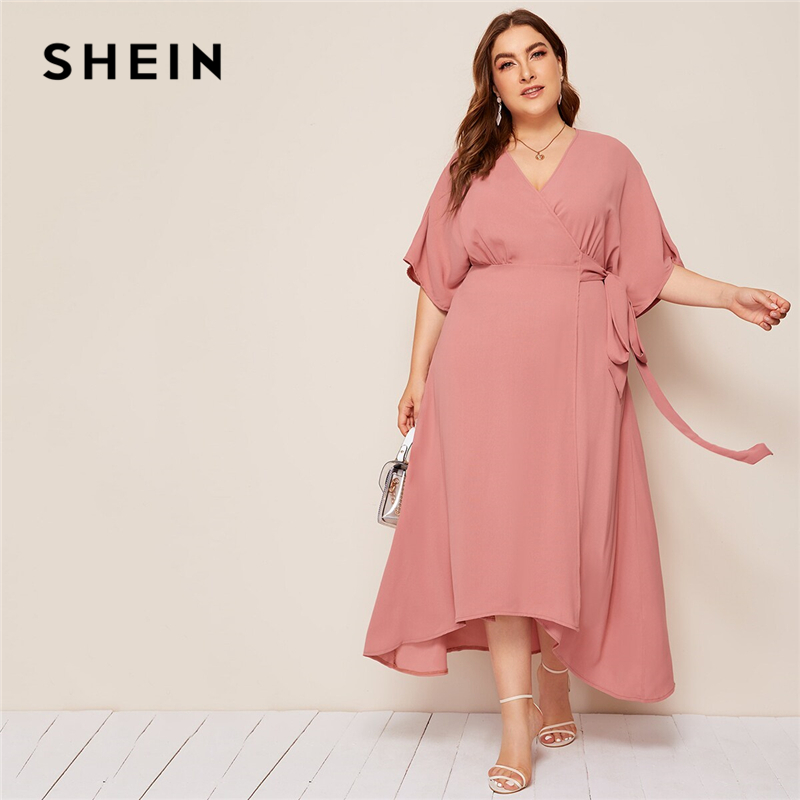 SHEIN Plus Pink Size Solid Surplice Neck Wrap Belted Maxi Dress Women Autumn Kimono Sleeve A Line High Waist Elegant Dresses