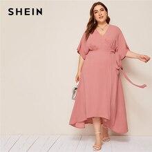 SHEIN Plus różowy rozmiar stałe komża szyi Wrap z paskiem sukienka w dużym rozmiarze kobiety jesień Kimono rękaw linia wysokiej talii eleganckie sukienki