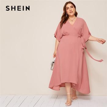 SHEIN плюс розовый размер, однотонное платье макси с запахом и поясом, женское осеннее платье-кимоно с рукавом А-силуэта, элегантные платья с высокой талией