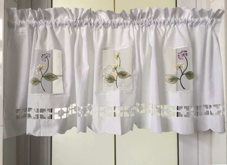 Factory Short 45x150cm Curtain Length Curtain Embroidered For Outlet Curtain Pvccurtain Flower Kitchen Curtain Rose Fabric Small Kitchen Decorative