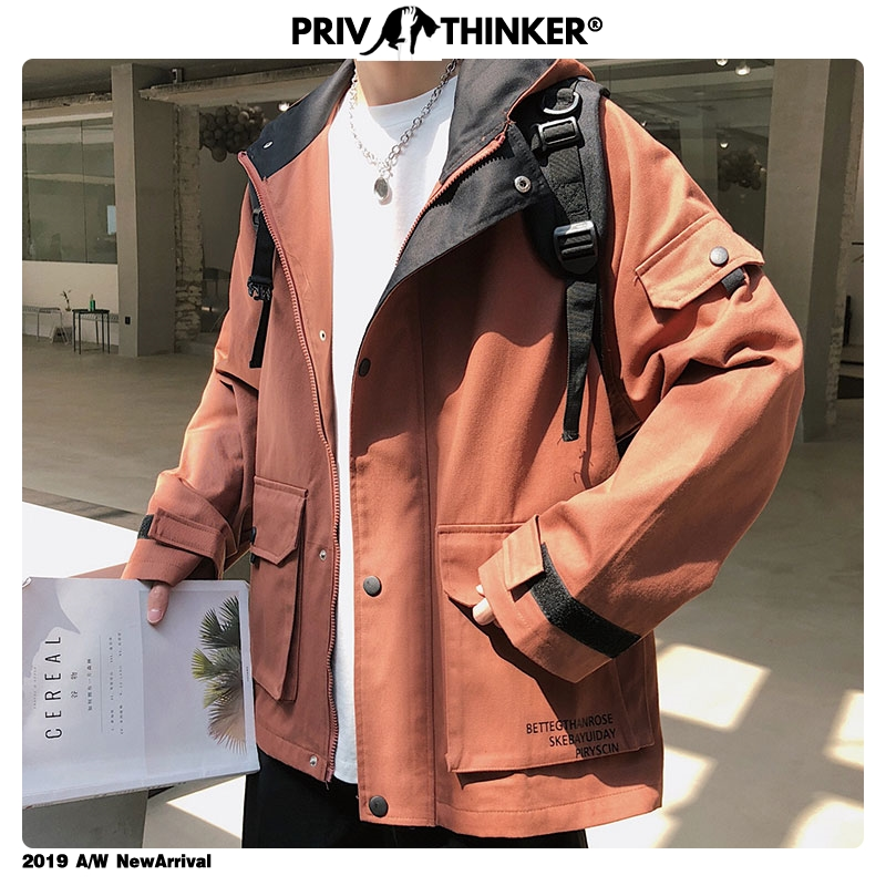 Privathinker 2020 Autumn Solid Color Jackets Mens Big Pockets Korean Casual Loose Jackets Mens Hooded Windbreaker