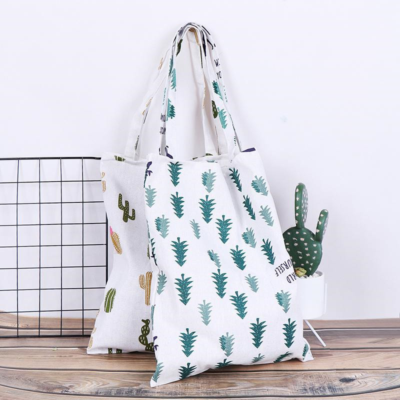 Vogvigo Women Cotton Linen Eco Shopping Tote Shoulder Bag Fashion Durable Cactus Tree Printed Shopping Bags Girl Book Bag