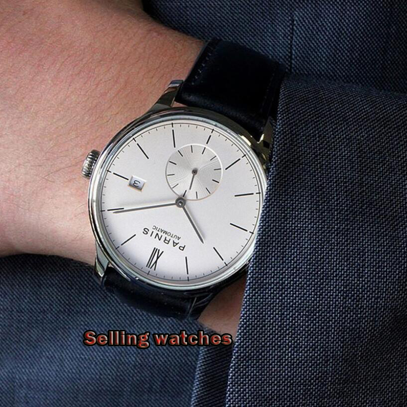 Parnis new 2019 42mm mens top luxury mechanical watch silver watch case date leather automatic man watch