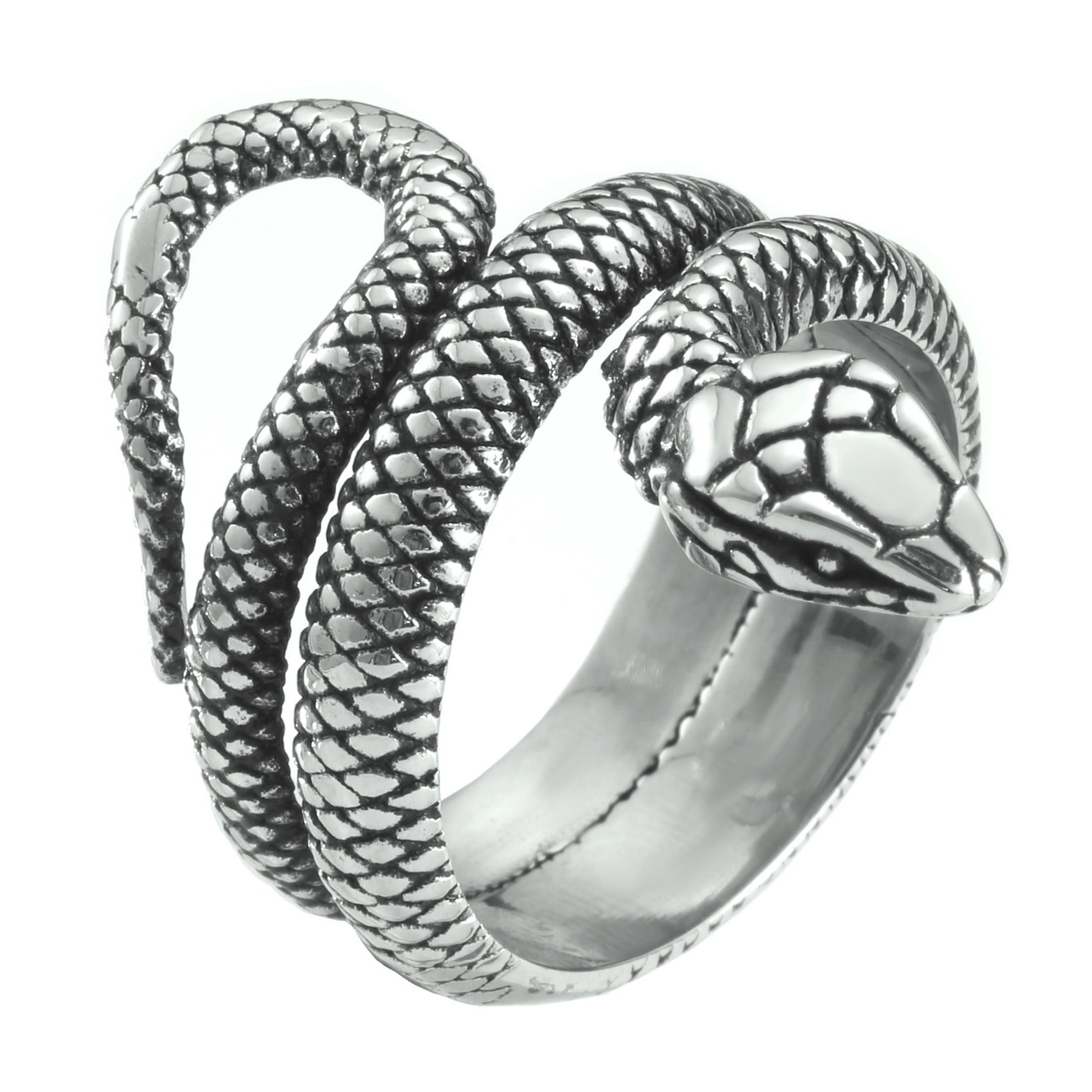 Anillo de serpiente unisex s/ólido de acero inoxidable 316L con forma de serpiente estilo punk 7 tama/ños