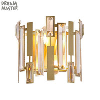 Modern Gold Wall Lamp Led Nordic Mirror Wall Light Fixtures Crystal Sconce for Living Room Bedroom Home Loft Industrial Decor