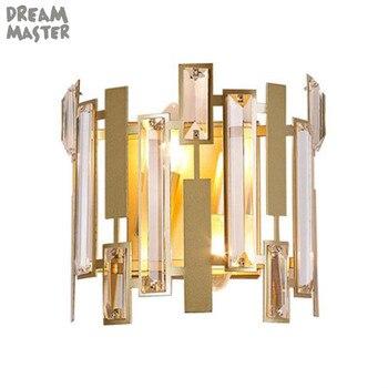 Moderna Oro Lampada Da Parete A Led Nordic Specchio Lampade Da Parete A Led di Cristallo del Riparo per Soggiorno camera Da Letto Casa Loft Industriale Decor