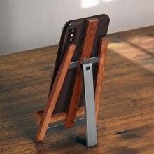 Soporte de teléfono móvil de madera Real ajustable hecho a mano Rosewood + soporte de Metal universal para todos los teléfonos móviles tabletas soporte de escritorio