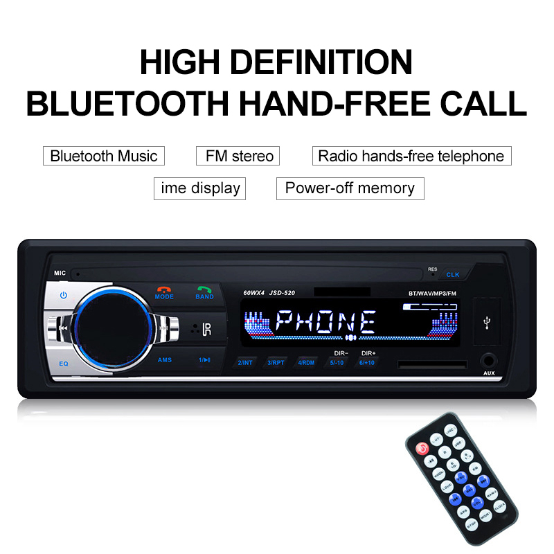 TOSPRA Car Multimedia Player Bluetooth Autoradio MP3 Player Car Stereo Radio FM Aux Input Receiver USB JSD-520 12V In-dash 1 din image