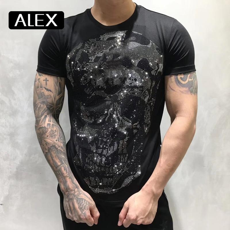 100% cotton men tshirt maker skull strysal rhinestones funny streetwear crew neck short sleeve homme men clothing summer