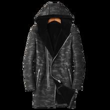 DK, новинка, с капюшоном, тонкая, длинная, шуба, мужская, зимняя, утолщенная, натуральная кожа и мех, одежда, черный, натуральный мех, тонкая, меховая куртка