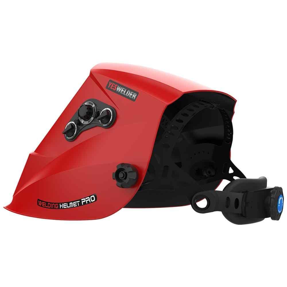 YESWELDER 真カラー溶接マスク太陽光発電溶接ヘルメット自動暗く溶接フード tig MIG アーク EH-091X-G/R