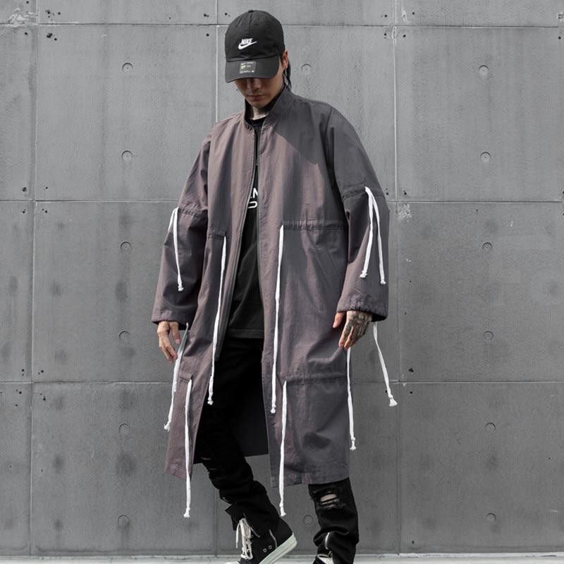 Long Windbreaker Jacket Cardigan Overcoat Streetwear Male Loose Hip-Hop Drawstring-Design