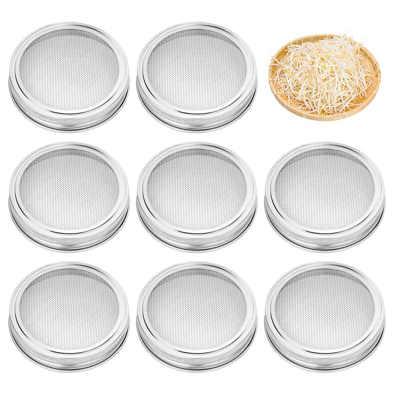 NHBR-8 Pack Stainless Steel Sprouting Jar Lid Kit For Wide Mouth Mason Jars Strainer Screen For Canning Jars And Seed Sprouting