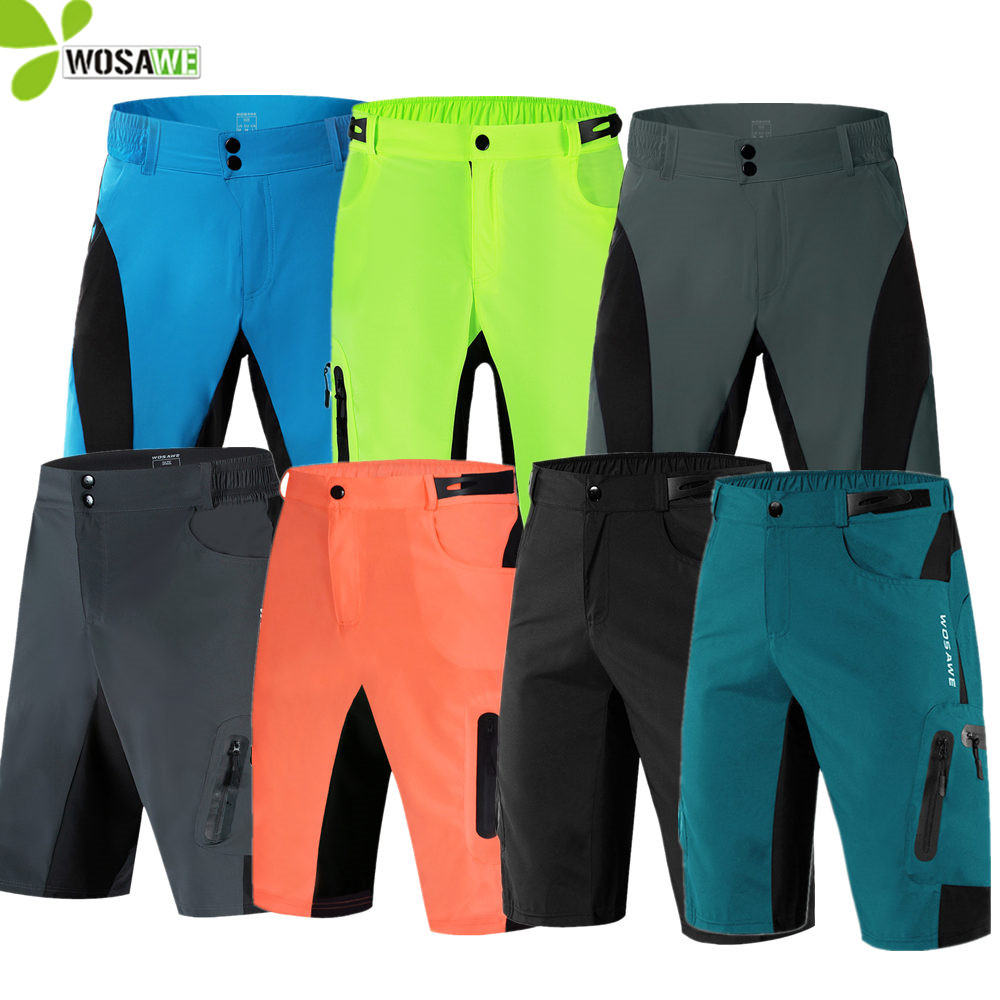 WOSAWE Men Loose Cycling Shorts without Gel Pad Running Bike Bicycle Leisure Downhill Clothing MTB Water Resistance Sports Short