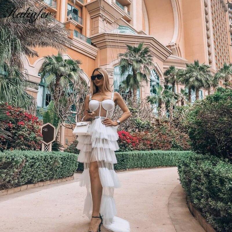 Halinfer 2019 robe élégante de haute qualité lettre fronde écran fil Maxi célébrité mariage Cocktail partie robe de traînée Vestidos