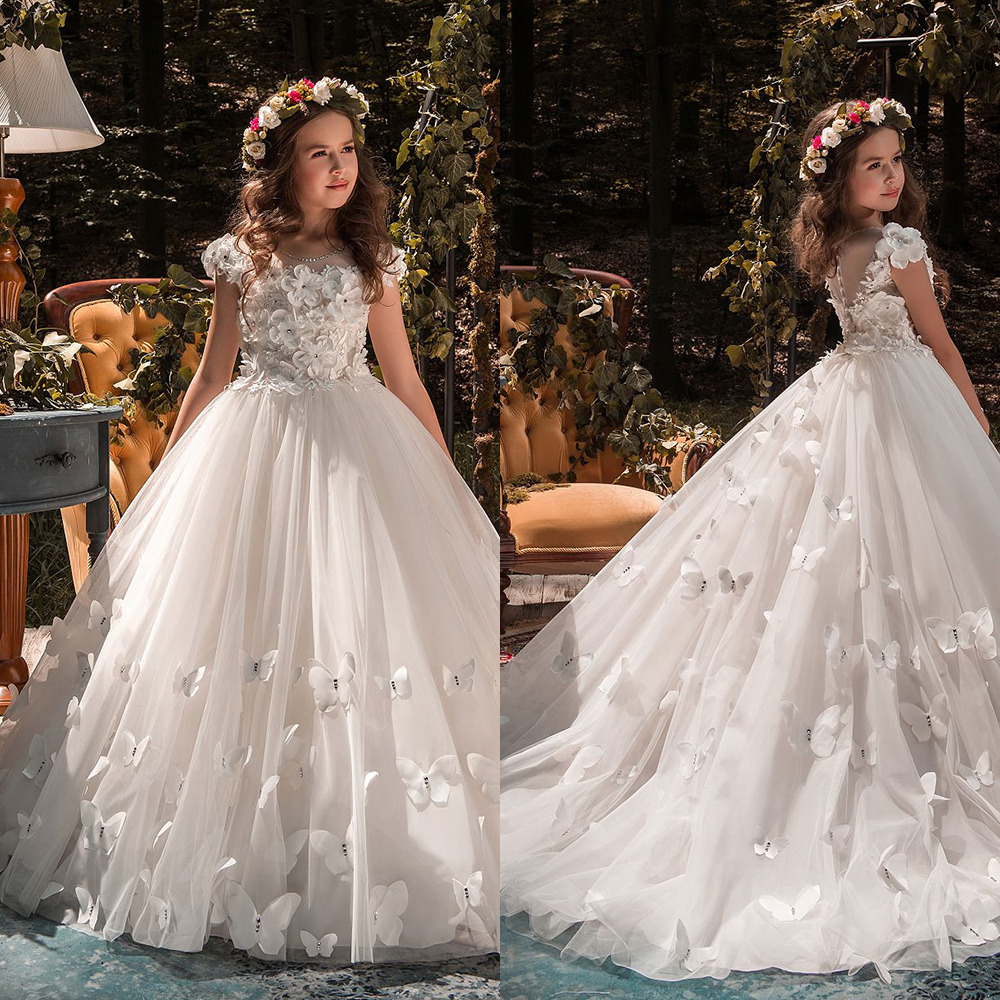 White Ivory Flower Girl Dresses Butterfly Short Sleeves Ball Gown O-Neck First Girls Communion Gown Girls Pageant Dress New Kid