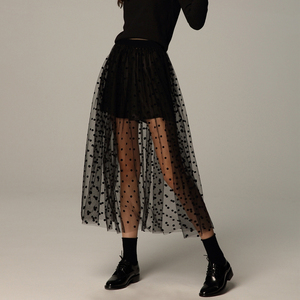 Fall Winter Overskirt Gothic Black Polka Dot Long See Through Mesh Tulle Skirt Vintage Streetwear Elastic Waist Pleated Skirts