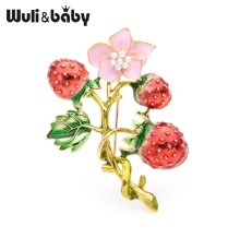 Wuli&baby Red Strawberry Tree Brooches Women Alloy Enamel Flower Plants Brooch Pins Gifts