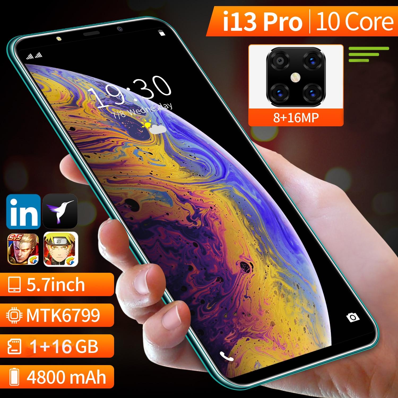 Version mondiale 5.7 pouces PLTDP i13 Pro téléphone portable, plus récent Android 10 Deca Core Smartphone Quad caméra GSM téléphone portable double carte Sim