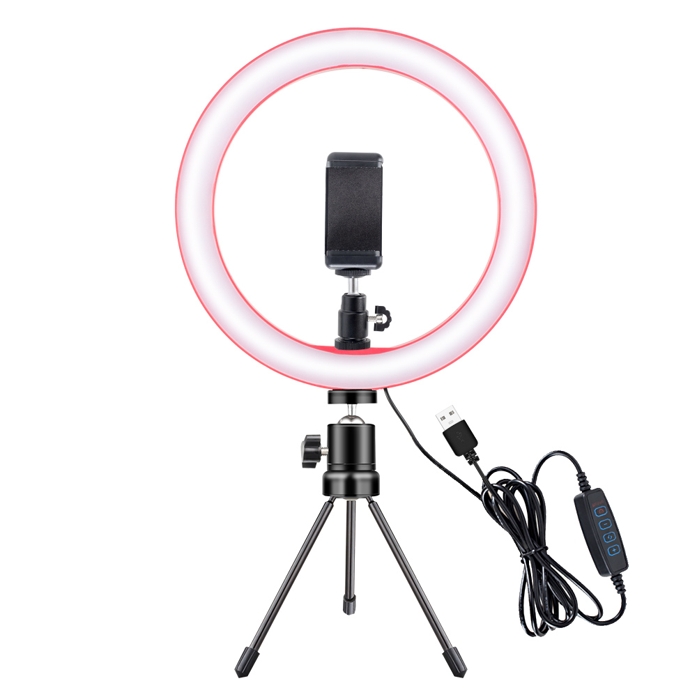 Photography LED Ring Light 26CM Dimmable Camera Phone Ring Lamp 10inch With Table Tripods For Makeup Video Live Studio