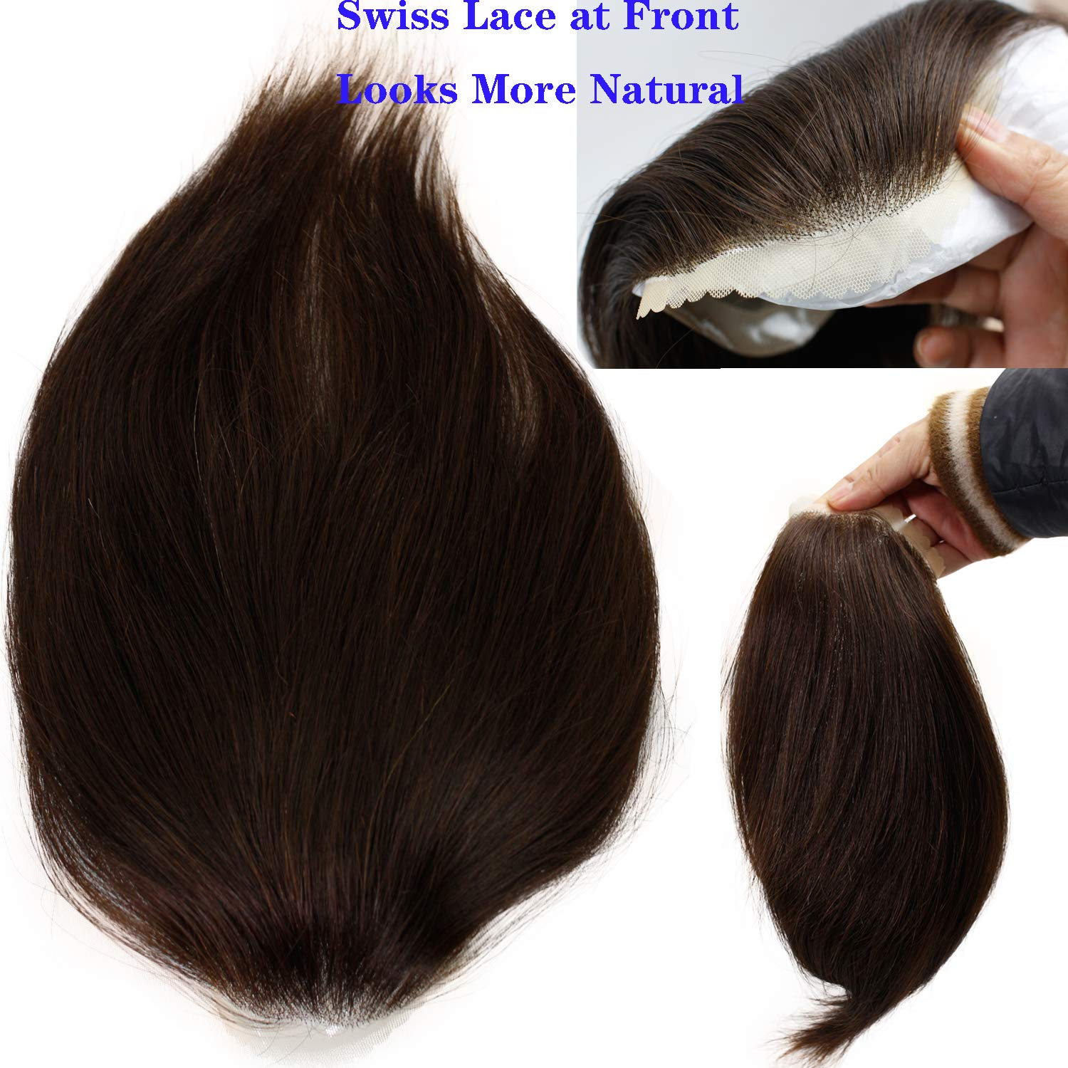 """Men's Toupee Hairpieces European Virgin Human Hair Replacement System Pieces for Men Swiss Lace Net with PU Base Size 4.33x6.7"""""""
