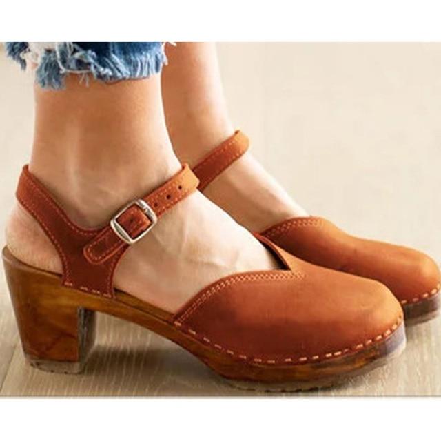 New Women Walking Shoes Retro Thunky With Wood Heel Fashion Buckle Women S Mid Heel Dress Platform Pumps Size 35 43 Walking Shoes Aliexpress