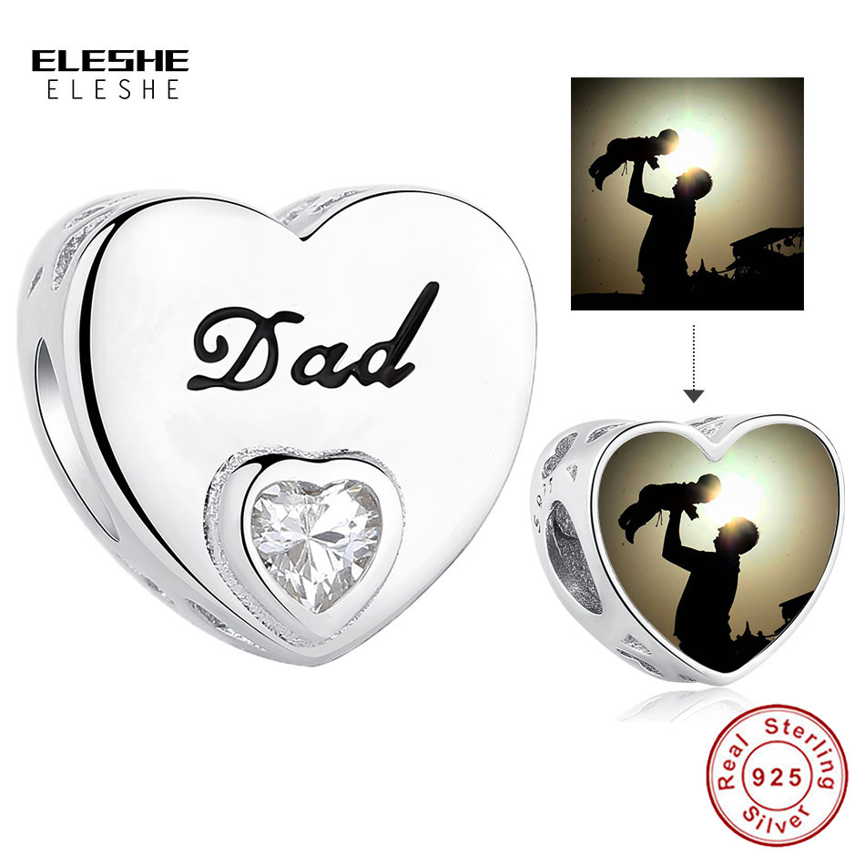 Personalized 925 Sterling Silver Clear CZ Heart Dad Charm Bead Fit Original Bracelet DIY Custom Photo Jewelry Father's Day Gift