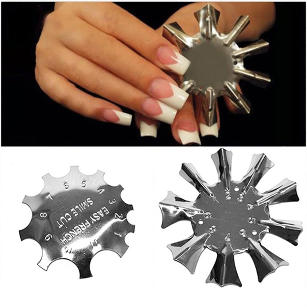 1pc Nail Art Edge Metal Trimmer Nail Form Cutter Clipper Styling Nail Gel Easy French Trim Smile Line Nail Template Tools #RK/98