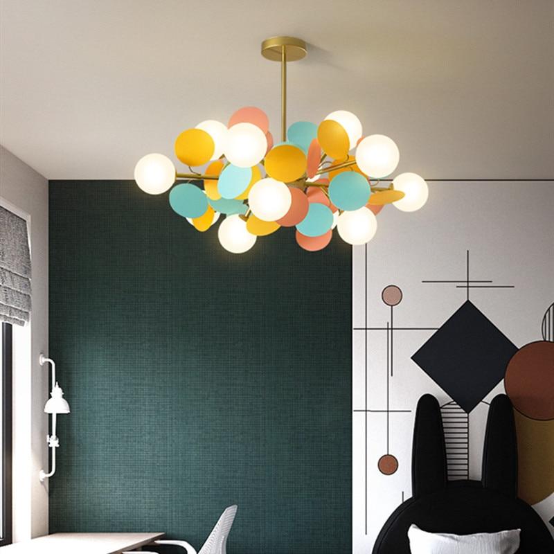 Nordic Art Macaron Multicolor Art Tree Led Pendant Lights Creative Designer Parlor Kid