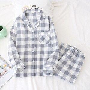 Image 3 - Tươi Kẻ Sọc 100% Gạc Cotton Người Yêu Pyjama Bộ Nam Nữ Thu Đông Dài Tay Nhật Bản Cổ Đồ Ngủ Nữ Pyjamas