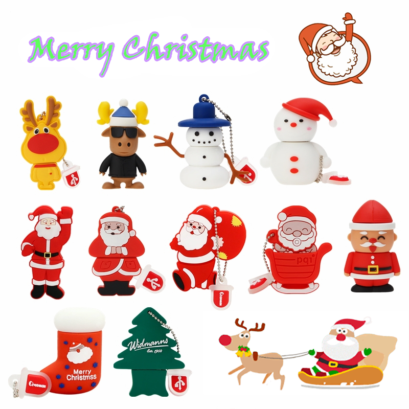 Usb Flash Drive 32gb 8gb Cartoon disk Christmas Gift pendrive 16gb Snowman flash memory stick 64gb cle usb 2.0 pen drive 128gb