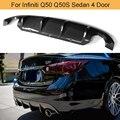 Q50 Carbon Faser Hinzufügen auf Auto Hinten Stoßstange Diffusor lip Spoiler für Infiniti Q50 Q50S Limousine 4 Tür Standard Sport 2013 2017-in Stoßstangen aus Kraftfahrzeuge und Motorräder bei