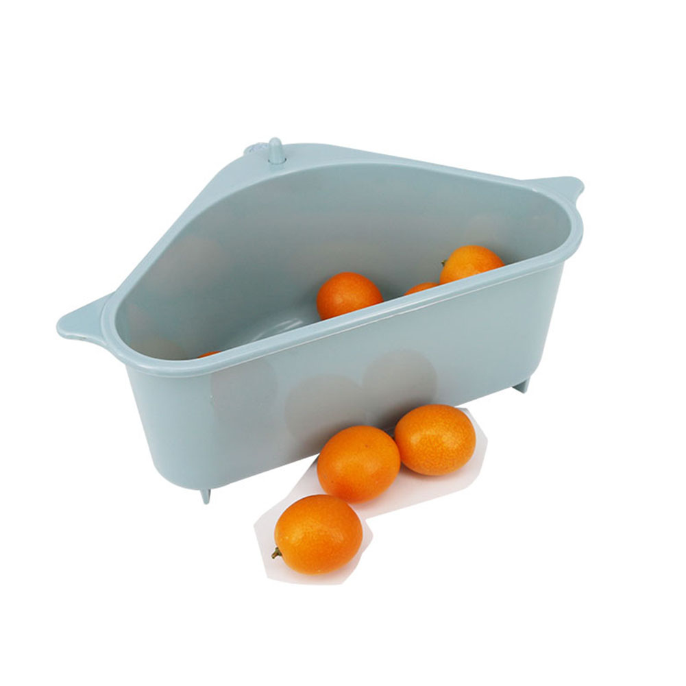 Kitchen Triangular Sink Strainer Drain Vegetable Fruit Drainer Basket Suction Cup Sponge Rack Storage Tool Sink Filter Shelf