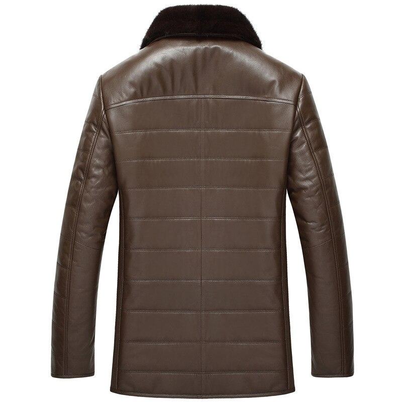 Genuine Leather Jacket Men Autumn Winter Sheepskin Leather Coat Wool Lining Real Mink Fur Collar Slim 4J8889 KJ2443