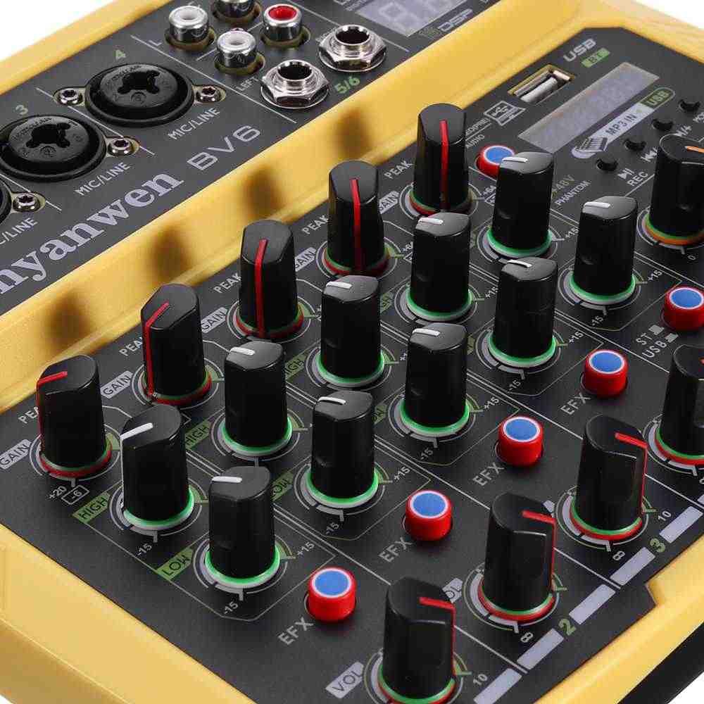ミニ eu 4 チャネルの bluetooth オーディオミキサーカラオケ ktv ミキシングコンソールサウンドカードデジタル効果ステレオ MP3 プレーヤー記録の usb