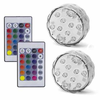 10LED RGB LED Underwater Light Pond Submersible IP67 Waterproof Swimming Pool Light Battery Operated For Wedding Party - 2 Remote 2 Light