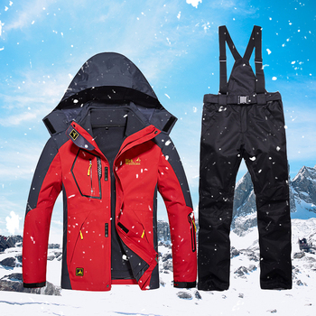Men Winter Ski Suit Outdoor Thermal Waterproof Windproof Breathable Snowboarding Jackets and Ski Pants Sets Male Skiing Clothes цена 2017