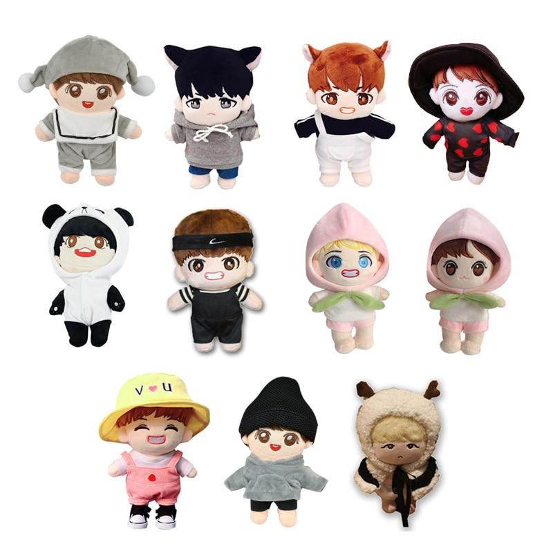 Coreia kawaii boneca de pelúcia brinquedo dos desenhos animados recheado boneca com roupas pp algodão bonito macio bonecas coleção fãs presente brinquedos para presentes do miúdo