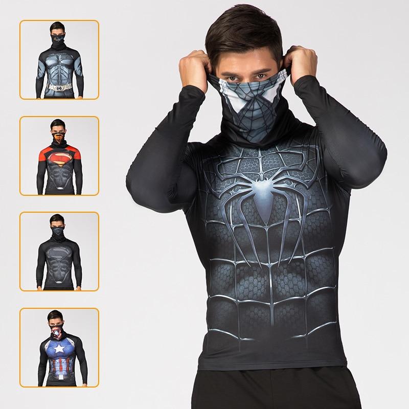 Superhero 3D Printed Men's Hight Collar Lapel Underwear Thermal Spidermen Compression T-shirt Ftness Sport Costume Comics Tops