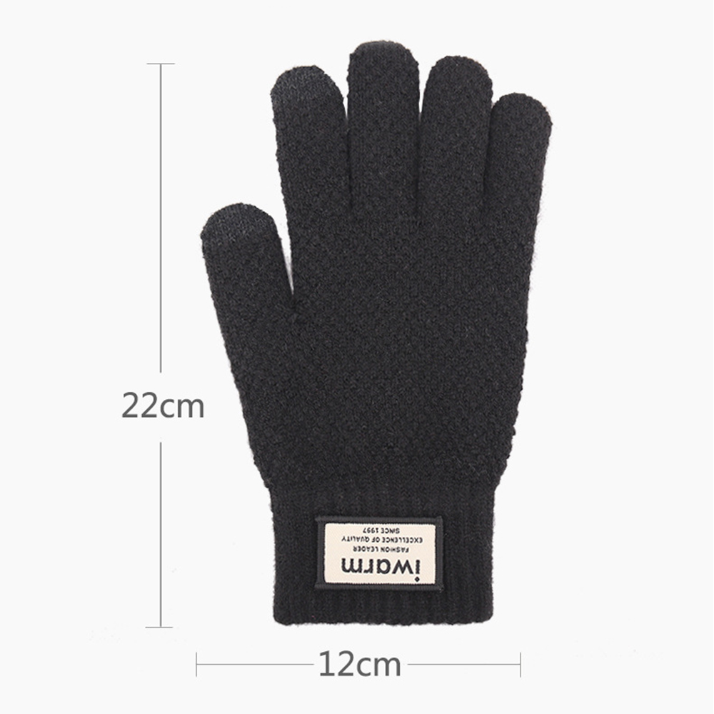 Touch Screen Knitted Gloves Winter Autumn Men High Quality Male Thicken Warm Wool Cashmere Solid Men Gloves Mitten handschoenen 6