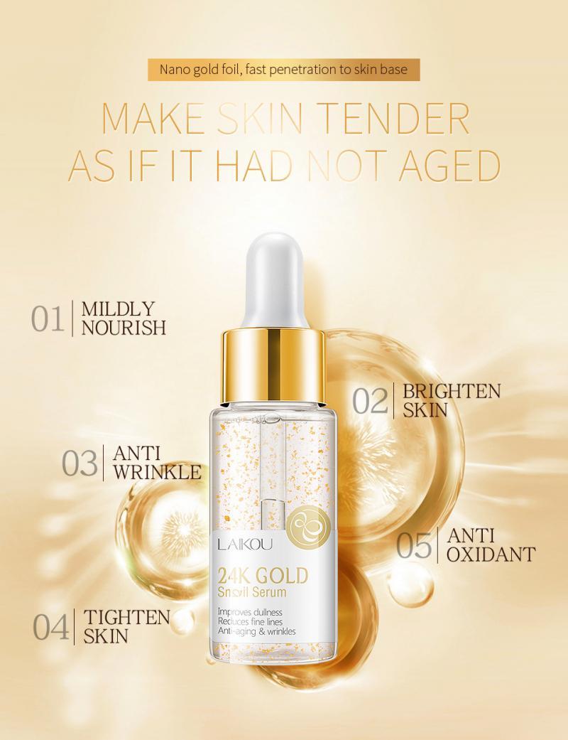 Lovely Laikou 24k Gold Face Cream Whitening Moisturizing Snail Serum Snail Essence Liquid Day Creams Moisturizers Skin Care Tslm1 Buy One Get One Free