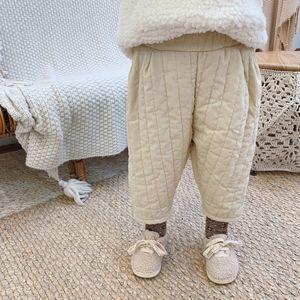 Autumn Winter kids quilted corduroy pants boys girls warm harem pants children casual trousers